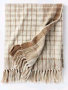 "Threshold Studio McGee Woven Cotton Plaid Throw Blanket Beige/Cream 60""x50"" New"