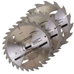 Silverline 3pk TCT Circular Saw Blades 16, 24, 30T  150 x 20, 16, 12.75mm Bore