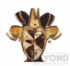 Venetian Mardi Gras Masquerade Theater Jester Joker Mask for Men - Black Gold