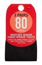 Black 3 Pairs 80 Denier Appearance Weather Sensor Finish Opaque Tights Primark