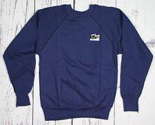 NOS Vintage FLEECE WEAR Soft Raglan Cotton Blend Blank Blue Sweatshirt Sz. XS/S