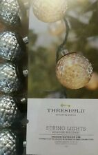 Threshold Outdoor Plastic Silver Globe Sphere 10 Ct On A String Light Lot Of 6