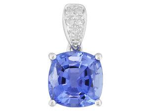 1.30ct Cushion Tanzanite With .02ctw Round Wt Diamond Accent 14k Wt Gold Pendant