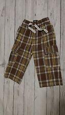 Mini Boden 2-3 Year Boy Plaid Brown Yellow Cargo Pants