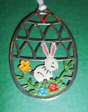 KUHN HAND PAINTED PEWTER FROM GERMANY EASTER/SPRING MOTIF WHITE BUNNY