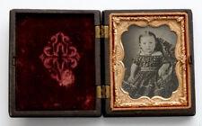 SWEET LITTLE GIRL Antique RUBY GLASS AMBROTYPE Photo in GUTTA PERCHA Union Case