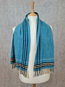Burberry 50% Cashmere 50% Wool Blue Check/Stripe Scarf Made in Scotland