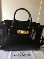 Coach Swagger 27 Satchel Pebbled Leather in Black