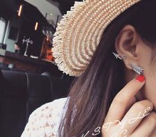 Women Only One piece Silver Love Arrow Ear Earrings Crystal Single Ear Cuff