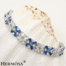 "Hermosa AAA Sapphire White Topaz Light 925 Sterling Silver Bracelets 7"""