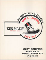 Vintage 1960's Ken Maely AMA Motorcycle Flat Track Racing Shoes Sign, Corona CA