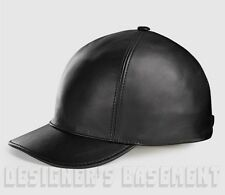 GUCCI black L Signature Embossed finest LEATHER Baseball Hat NWT Authentic $595