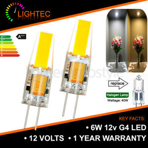 12V COOL WARM WHITE 6W COB G4 LED LIGHT LAMP BULBS 40W HALOGEN EQUIVALENT 320LM