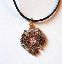 Imperial Empire Romanov Russia Russian War Eagle Czar Chain Necklace Pendant Pin