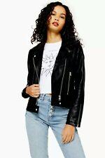 New Arrival 2020 TopShop Black Faux Leather Biker Jacket Last Size 14