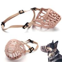 Safe Adjustable Pet Dog No Bite Plastic Basket Muzzle Cage Mouth Mesh Cover n