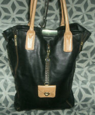 Topshop Vintage Style Black and Tan Slouch Large Tote Shopper Bag Boho