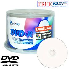 50 Pcs SmartBuy Blank DVD+R DL 8X 8.5GB Dual Layer White Inkjet Printable Disc