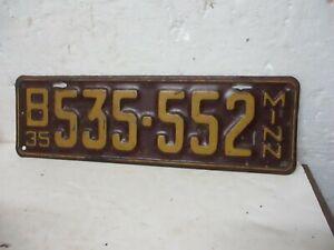 VINTAGE 1935 MINNESOTA LICENSE PLATE (B535-552)