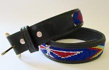 "Vtg Champion Black Leather Southwest Native Eagle Beaded Belt 34"""