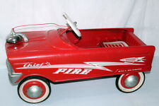 Vintage Metal Fire Chief Red Lightning Bolt Ball Bearing Pedal Car 1960's Nice