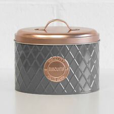 Grey & Copper Oval Geometric Biscuit Tin Cookie Storage Barrel Jar Container Box