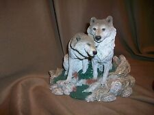 *Chipped* Living Stone Sweethearts Forever Wolf Couple Sculpture 1995