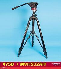 Manfrotto 475B Professional Tripod Legs (Black) & MVH502AH 502HD Pro Video Head