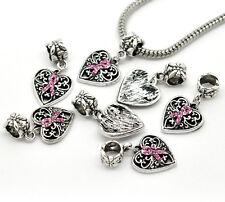 1PC Rhinestone Pink Ribbon Awareness Heart Dangle Beads Fit Charm Bracelets