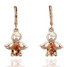 """18K Rose Gold Plated  Earrings Drop Dangle AAA Zirconia Leverback Angel .6"""" L247"""