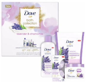 Dove Relaxing Care Bath Set Lavender and Chamomile, 4 Piece Gift Set