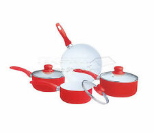 7pc Ceramic Non Stick Cookware Set Saucepan Pot Glass Lid Fry Frying Pan RED