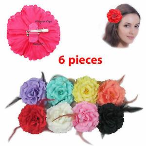 "6 pcs Chiffon Flower Hair Clips Peony Flower Brooch Bridesmaid Wedding Party 5"""