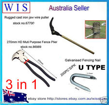 3 in 1 iron jaw easy wire puller w Muti Purpose Fencing Plier w 200pcs Gal Nails