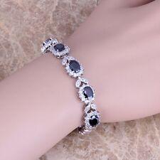Black Sapphire White Topaz Silver Link Chain Bracelet 7 inch For Women S0400