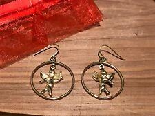 14k Gold Angel Cherub Earrings Pierced JCM Jacmel Solid 14k Yellow Gold