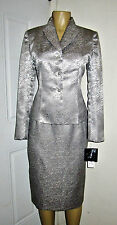 ❤️ NEW LE SUIT ELEGANT STERLING SILVER SATINY SUIT SZ 6 SKIRT/BLAZER-------#14