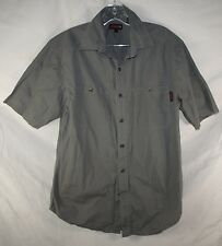 Wolverine Gray Rip Stop Short Sleeve Button Up Work Shirt Men's M