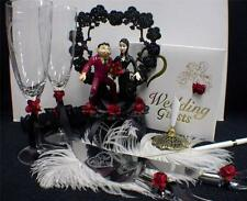 GOMEZ Morticia ADDAMS Family Wedding Cake Topper LOT Glasses Knife Server Book