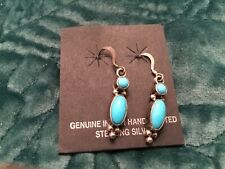 """Handmade Turquoise Sterling Silver Earrings approx 1"""" long"""