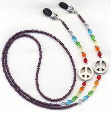 Crystal Rainbow PEACE SIGN Eyeglass~Glasses Holder Necklace Chain *CUSTOM LENGTH