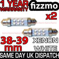 2x 38mm 39mm NUMBER PLATE INTERIOR LIGHT FESTOON BULB 6 LED XENON WHITE 239 12v