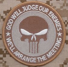 GOD WILL JUDGE OUR ENEMIES ARMY PUNISHER DESERT VELCRO® BRAND FASTENER PATCH 4""
