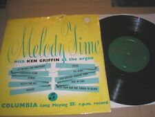 """MELODY TIME KEN GRIFFIN AT THE ORGAN 10"""" LP COLUMBIA 33S 1037  VINYL EXCELLENT"""