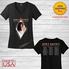 Janet Jackson Shirt Women V-neck tops Black Diamond world tour 2020 T-Shirt Size
