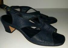 Navy blue fabric leather look slingback block heel sandals. 7 vegan