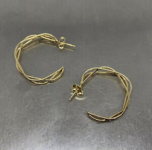 Exquisite 14k Solid Yellow Gold  Wire Hoop Earring 3.3g Handmade USA