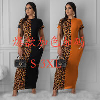 NEW Women's Short Sleeves Printed Pockets Bodycon Casual Party Long Dress S-3XL