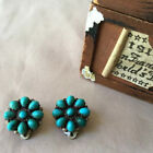 Vtg Native American Signed Eriacho Zuni Inlaid Turquoise Clip On Earrings