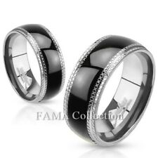 FAMA 8mm Stainless Steel Ring Etched Edges and Black IP Center Band Select Size